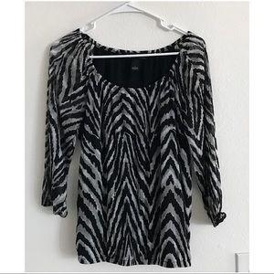 INC Black Zebra print top M